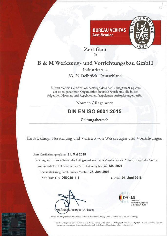 B&M Zertifikat DIN ISO 9001:2015